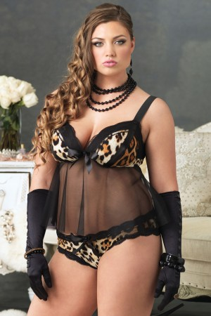 Leg Avenue 2-Piece Lace Trimmed Spandex Babydoll w/ Padded Cups