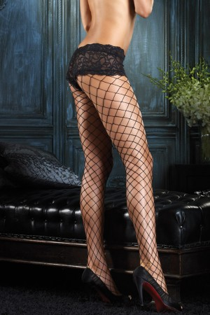 Leg Avenue Diamond Net Pantyhose with Lace Boyshort Top