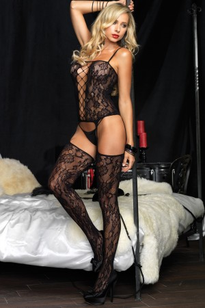 Leg Avenue Floral Bouquet Lace Suspender Bodystocking