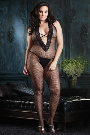 Leg Avenue Halter Bodystocking with Lace Deep V