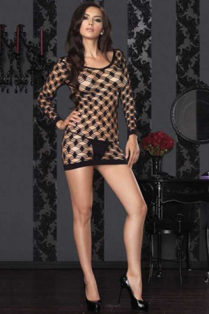 Leg Avenue Hardcore Net Long Sleeved Mini Dress