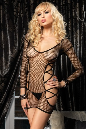 Leg Avenue Industrial Net Long Sleeved Mini Dress