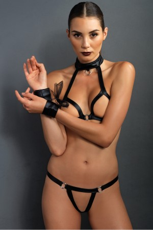 Leg Avenue Kink 3-Piece Open Cup Bra and G-String Set