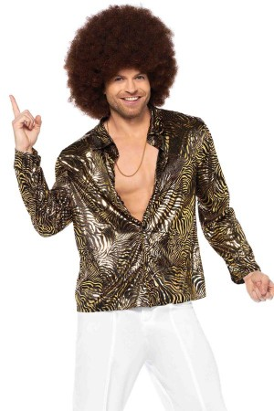 Leg Avenue Men's Zebra Disco Shirt Costume
