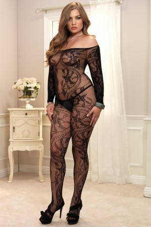 Leg Avenue Spiral Lace Off The Shoulder Long Sleeved Bodystocking