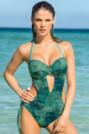 Leonisa Geometric Strapless Twist Monokini Bathing Suit