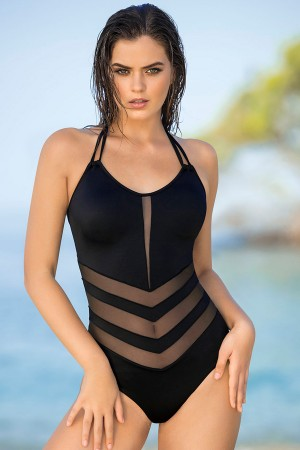 Leonisa Mesh Cut-Out One-Piece Swimsuit