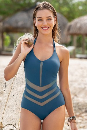 Leonisa Mesh Cutout One-Piece Slimming Swimsuit