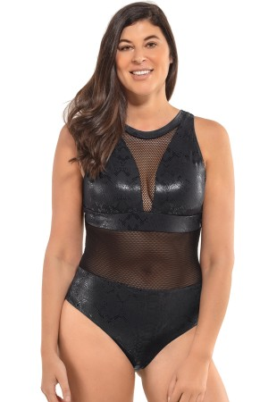 Leonisa Mesh Triangle Top One-Piece Slimming Swimsuit