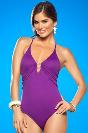 Leonisa Moderate Tummy Control Deep Plunge One Piece
