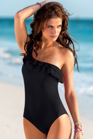 Leonisa Romantic Ruffle One Shoulder One-Piece Swimsuit