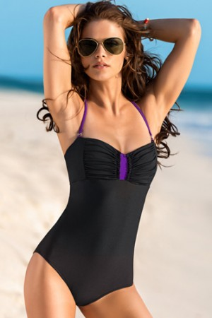 Leonisa Strapless Bandeau Tummy Slimming One Piece Bathing Suit