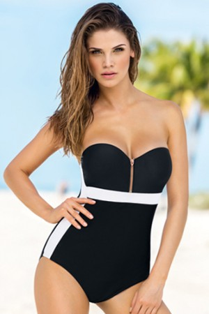Leonisa Strapless Figure-Enhancing One-Piece Bathing Suit