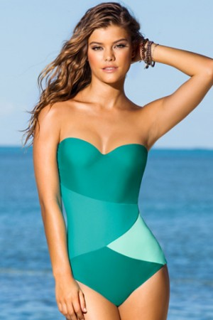 Leonisa Strapless Geometric Tummy Slimming One Piece Swimsuit
