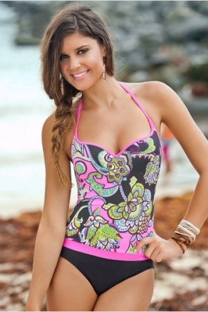 Leonisa Stunning Print One Piece with Tummy Control