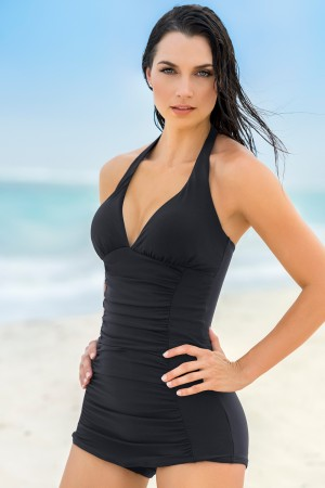 Leonisa The Ruched Shaping One-Piece Bathing Suit