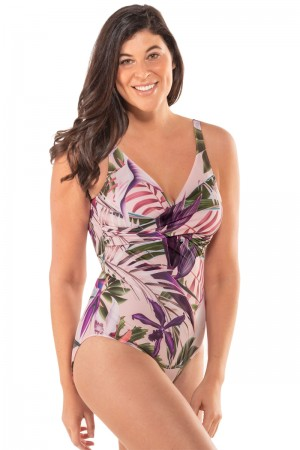 Leonisa Twist Top Tropical U-Back Shaping Swimsuit