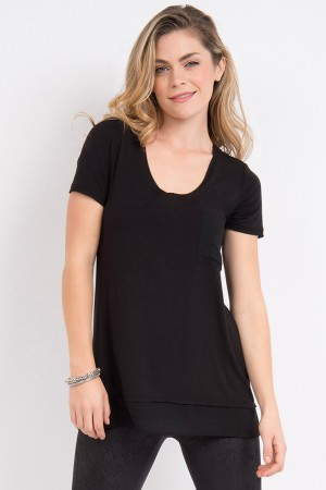 Lysse Scoop Chiffon Trim Tee