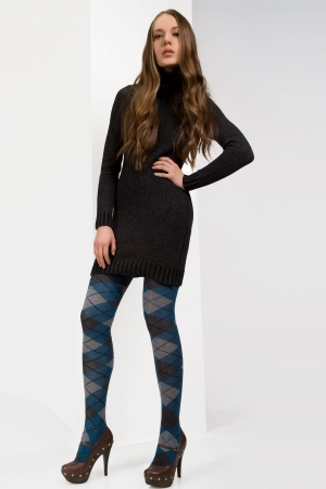 MeMoi Argyle Obsession Sweater Tights