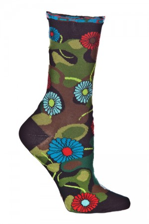 Ozone Flower Camo Black Sock