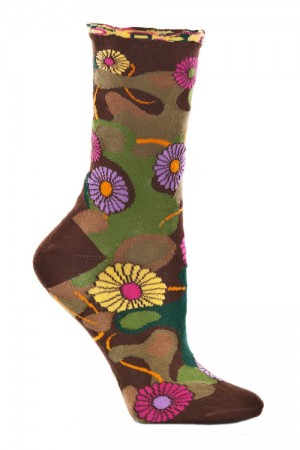 Ozone Flower Camo Brown Sock