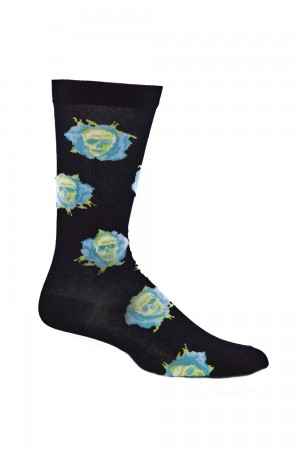 Ozone Skull Flowers Black Sock