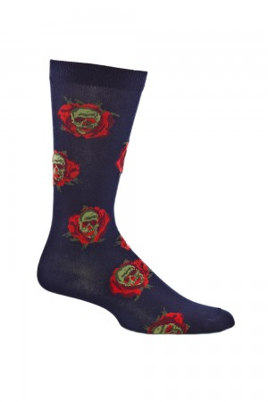 Ozone Skull Flowers Navy Sock
