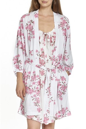 P.Jamas Knit Cherry Blossoms Short Robe