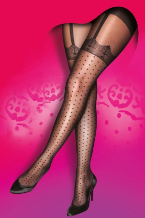 Pretty Polly Curves Mock Spot & Lace Suspender Tights