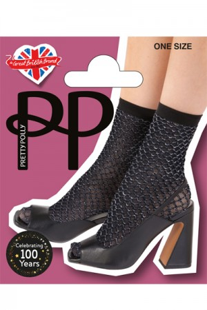 Pretty Polly Double Layer Lurex Net Anklets