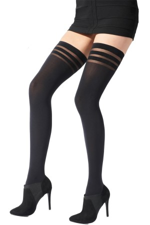 Pretty Polly Fashion 80 Denier Banded Top Hold Ups