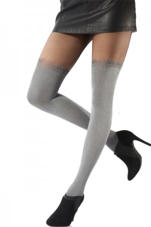Pretty Polly Fashion Soft Grey Over the Knee Tight