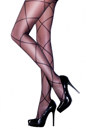 Pretty Polly Sheer Diamond Lace Up Tights