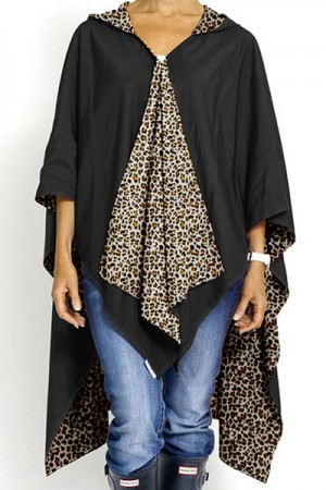 Rainrap Hooded Black and Leopard Spiritrap - Longer
