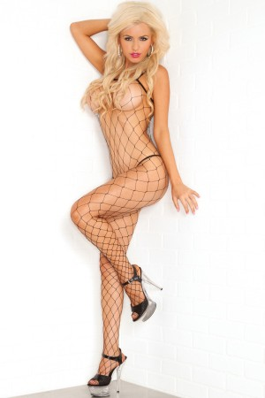 René Rofé Pink Lipstick Fierce Net Bodystocking