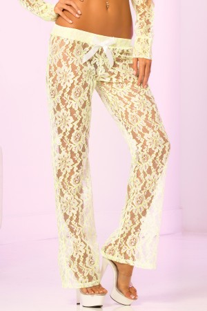 René Rofé Pink Lipstick Lace Pant with Satin Bow