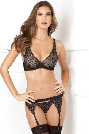 René Rofé Sexy 3-Piece Luxurious Lace Lurex Garter and Thong Set