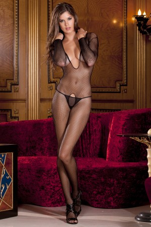 René Rofé Sexy Deep V Long Sleeve Fishnet Bodystocking