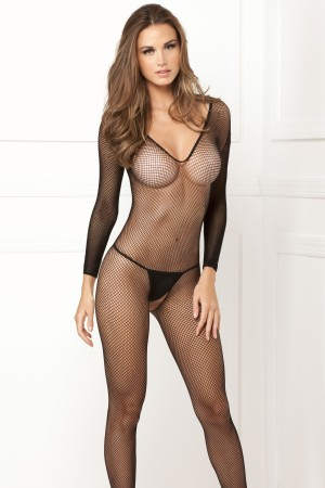 René Rofé Sexy Long-Sleeve V-Neck Fishnet Bodystocking