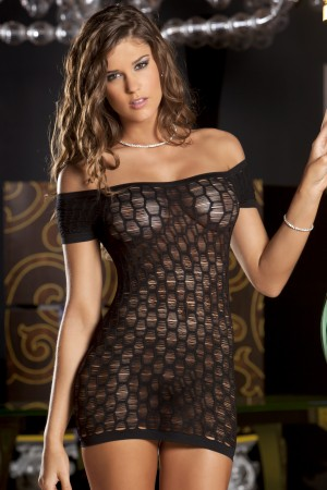 René Rofé Sexy Seamless Shredded Mini Dress