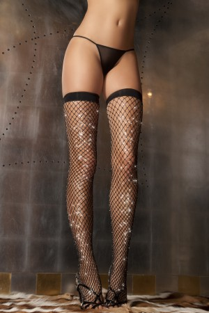 René Rofé Sexy Sparkle Diamond Net Thigh High