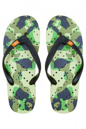 Showaflops Camo with Orange Stripe and Accents Men's Flip Flops