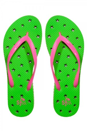 Showaflops Lime Neon Hot Pink Stars Women's Flip Flops