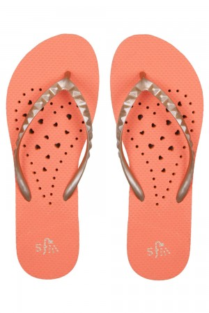 Showaflops Orange Elongated Heart Women's Flip Flops