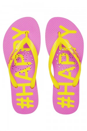 Showaflops Pink Printed Yellow Happy Women's Flip Flops