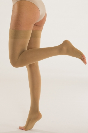 Solidea Marilyn - Plus Open Toe Compression Thigh-Highs (34/46 mmHg)