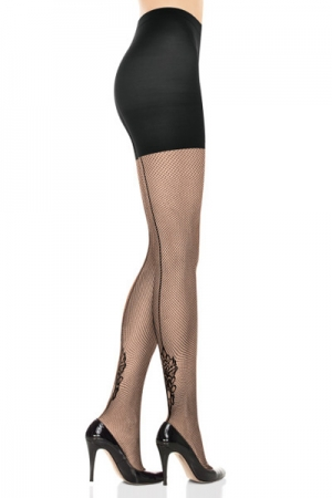 Spanx Uptown Tight-End Tights Floral Backseam Fishnet