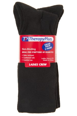 TherapyPlus Ladies Value Pack Non-Binding Crew 3-Pack