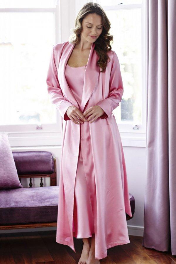 Bonsoir of London Ladies Silk Gown 3B14 | Sleepwear