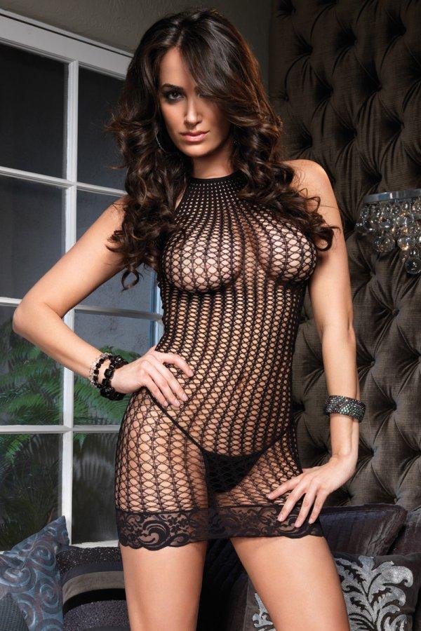 Leg Avenue Lace Trimmed Crochet Net Halter Mini Dress